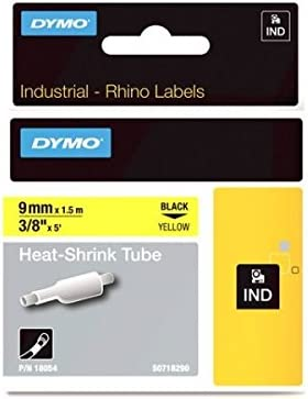 Details about  /4PK Heat-Shrink Tube IND Label Tape for DYMO 18051 Black on White Rhino 4200 6mm
