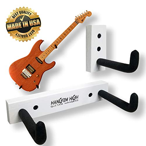 (Angled Guitar Wall Hanger Display for Electric and Thin Body Guitars- White Finish)