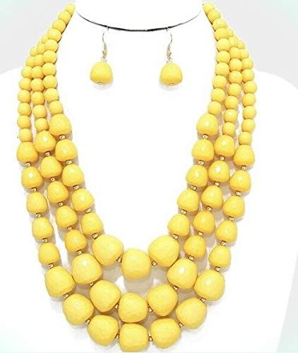(Plastic Chunky Big Yellow Pearl Acrylic Multi Layered Bead Necklace Earring For Women)