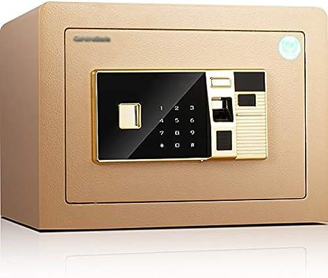 Caja Fuerte de Seguridad,36x30x26.5cm Reconocimiento de Huellas Dactilares Electrónica de Caja de Seguridad, Oficina de Hotel Joyas Comerciales Uso de Efectivo Almacenamiento,Dorado: Amazon.es: Oficina y papelería