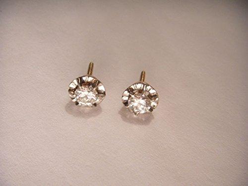 Beautiful Antique 14K White Gold Diamond Stud Solitaire Earrings (Diamond Earrings Antique Stud)