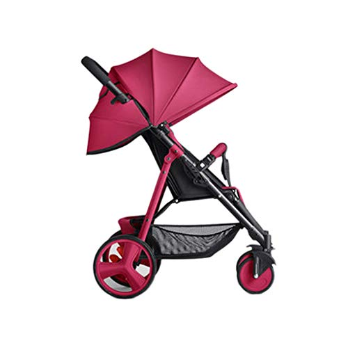 Easy Newborn Children Can Sit Lying Pushchairs Shock Absorbers One-Click Folding Pushchairs Prams Portable Strollers Buggies Baby Strollers (Color : Red, Size : 20.0715.7437.79inchs)