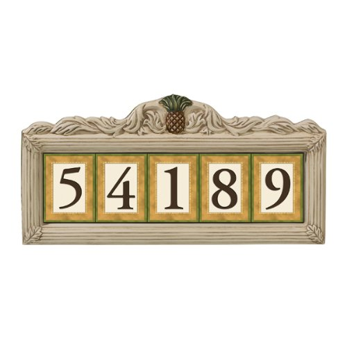 Grasslands Road Estate Pineapple 3 by 4-Inch Build Your Address Plaque 5 Digit Magnetic Number Tile Holder with Stakes (Ceramic Address Plaque)