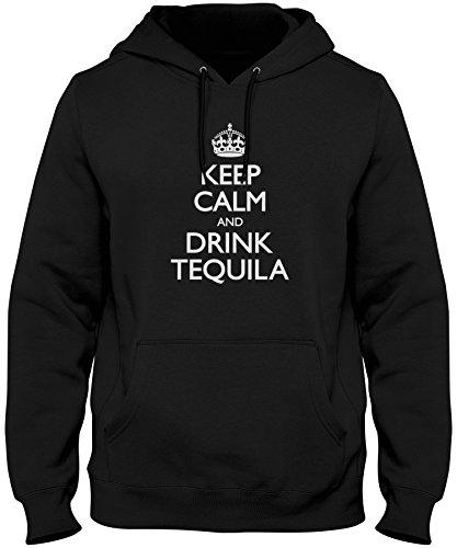 Calm And Drink Tequila Hoodie Sweatshirt, Black Large ()