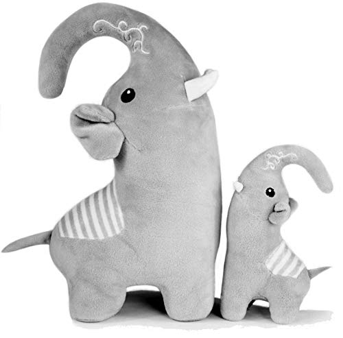 Noisy Goose Toy Lab Adorable Mother and Baby Calf Elephant Stuffed Animal Set, 7 and 12