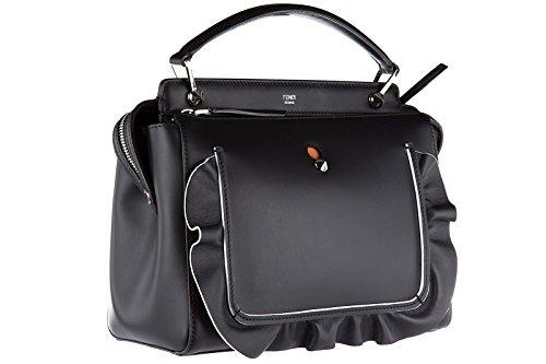 Fendi sac à main femme en cuir dot com veau century wave noir
