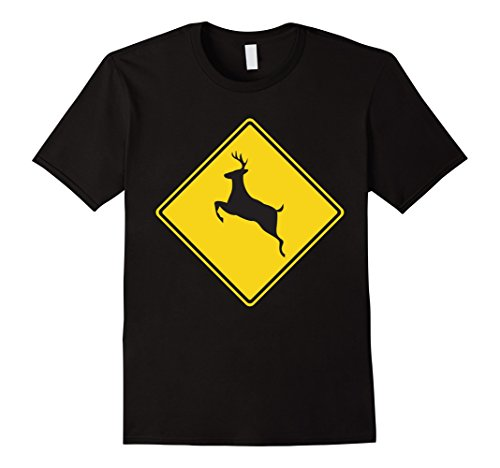 A Deer In The Headlights Costume (Mens Deer Crossing Traffic Road Street Sign T-Shirt Medium Black)