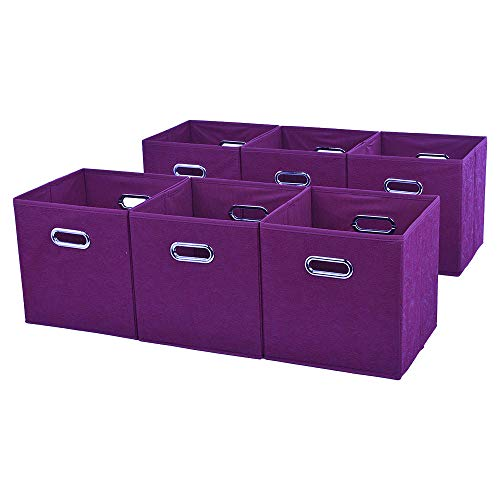 Ikebana Embossed Claret Red 2 Metal Handles Foldable Storage Cubes, Home Decorative Fabric Drawers Clothes Organizer Storage Bin, 6 Pack
