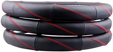 WLKDMJ Auto-Lenkradbezug, Leder, weich, rutschfest, sehr bequem, einfach zu installieren, Universalgröße 37–38 cm (schwarz)