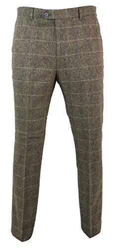 Cavani Mens Herringbone Tweed Vintage Retro Check Wool Trousers Peaky Blinders Classic tan-Brown-Albert 32