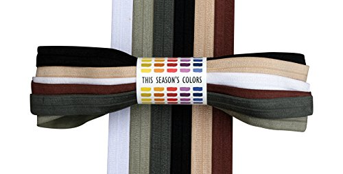 Fold Over Elastic Neutral Set; 1 1/2 Yards Each of 6 Colors: White, Tan, Brown, Gray, Charcoal and Black FOE 5/8