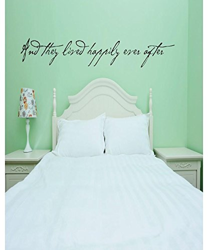 and They Lived Happily Ever After Love Quote Vinyl Wall Decal Sticker Color : Black Size : 20x50