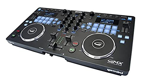 Gemini GMX Series Professional Audio DJ Multi-Format USB, MP3, WAV and DJ Software Compatible Media Controller System with Touch-Sensitive High-Res Jog (Media Player Midi Control)