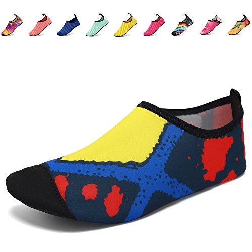CIOR Leichte Aqua Socken Quick-Dry Wasser Schuhe Mutifunctional Barfuß Für Strand Pool Surf Yoga Übung Diamant.gelb