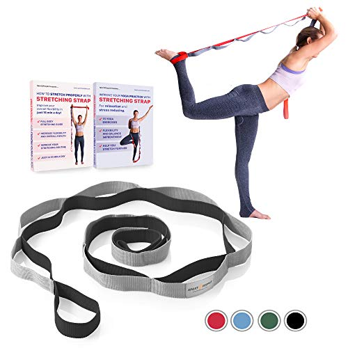 Sport2People Stretching Strap for Yoga and Rehabilitation - 2 Free Ebooks Included - Rehab Stretch Band with 12 Loops to Improve Your Flexibility - Recommended Physical Therapy Equipment (Gray-Black)