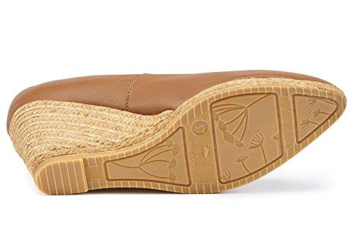 VISCATA Roses Leather 2.75-Inch Elegant Style, Slip-On Wedge Pump, Espadrilles Heel Made In Spain Brandy
