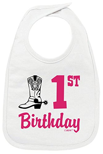 First Birthday Outfit Girl 1st Birthday Gift Country Cowgirl Boots Baby Bib White]()