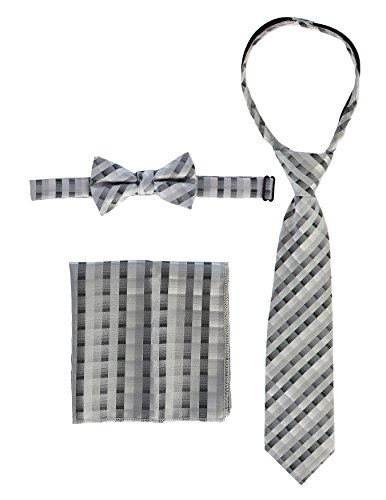 Gioberti Kids and Boys' Plaid Tie, Bow Tie and Handkerchief Set, Gray, Large