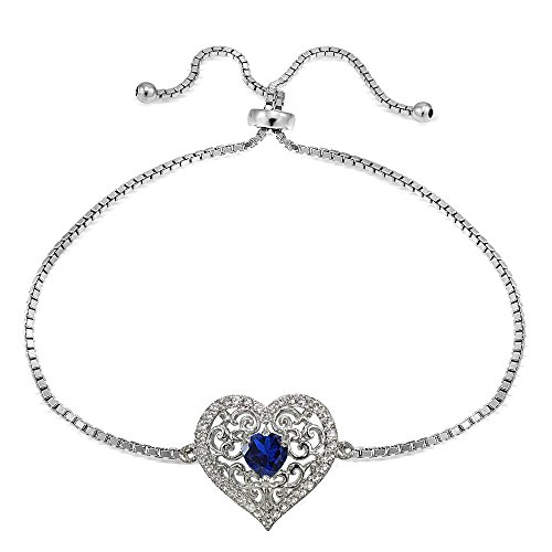 - Sterling Silver Created Blue Sapphire and White Topaz Filigree Heart Adjustable Bracelet