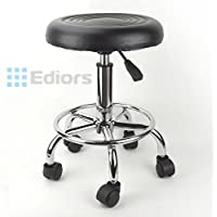 Ediors® 360° Rotation 23'/58cm Adjustable Photography Tattoo Salon Rolling Chair Stool Video Studio Posing with Comfortable Curve Seat Metal Pneumatic Central Column Foot Rest (1, Black)