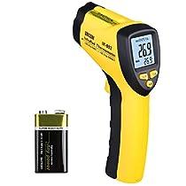 URCERI Termometro Laser a Infrarossi Digitale -50°C - 580°C Senza Contatto Schermo Retroilluminato LCD, Batteria Inclusa, Giallo e Nero