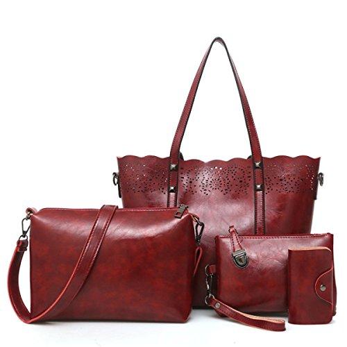 Capacité red Mère Bag Enfant Sac Main épaule Cuir Dames Sacs Trois Pièces Messenger à Ensembles Ajouré Et PU Grande U7q6B