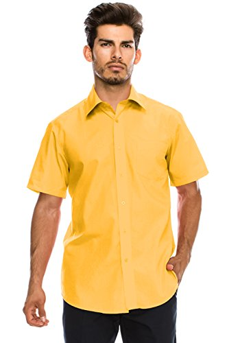 - JC DISTRO Men's Regular-Fit Solid Color Short Sleeve Dress Shirt, Yellow Shirts (3XL)