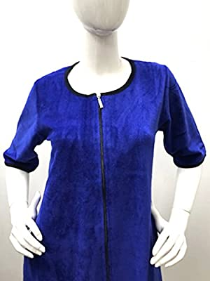 Womens Turkish Cotton Zipper Front Soft Velour Robe House Dress Bathrobe