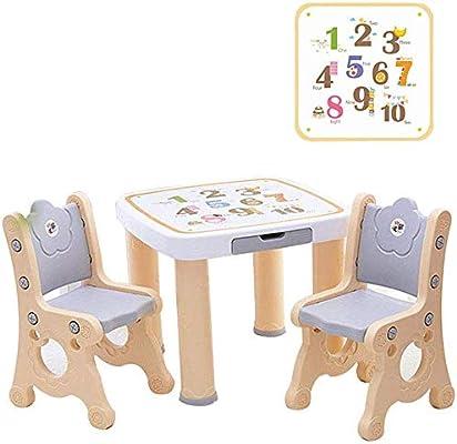 CTC Juego de mesa y silla para niños, sala de juegos multifunción/guardería/muebles para preescolar/jardín de infantes, adecuado para niños de 2 a 10 años/Marrón claro / 1 mesa 2 si: Amazon.es: Bricolaje