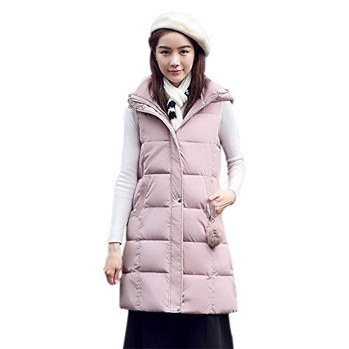 Zip Warm Vest Jacket Quilted Winter Sleeveless Pink Women Gilet XFentech Gilet Coat Long Up qwFPE8Y