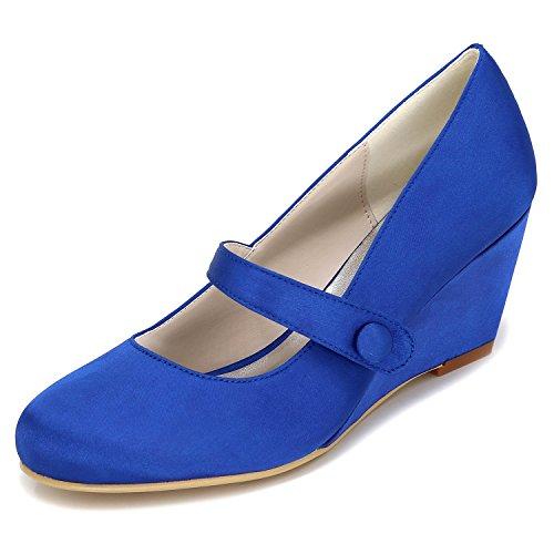 Elobaby Zapatos De Boda De Las Mujeres como Bombas De TacóN De SatéN Grueso Bombas De Plataforma De Hebilla De SatéN/TalóN DE 6.5 Cm Blue