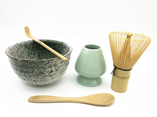 CHAQI Matcha Accessories Set Include 5 items-100 Prongs Bamboo Whisk Chasen,Bamboo Spoon & Scoop,Ceramic Matcha Bowl & Whisk Holder (Jade)
