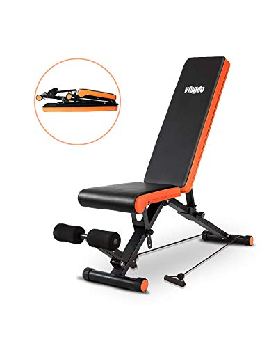 VIAGDO Adjustable Weight Bench Foldable Utility Workout Bench for Home Gym Strength Training, 8 Positions, 660 LBS Capacity Flat Incline Decline Bench for Full Body Workout Exercise