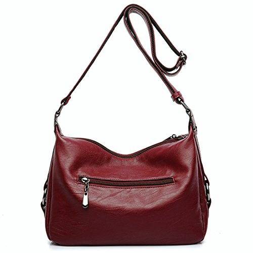 Retro Bags Red Shoulder Bags Crossbody for Casual Women's Women Hobo Leather PU Soft OwqZIad