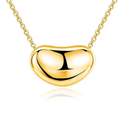 Sterling Silver Bean - Ashley Jeweller .925 Sterling Silver Bean Charm Necklace Classic Forever (18K Gold)
