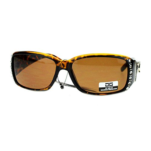 - CG Eyewear Womens Rhinestones Sunglasses Rectangular Designer Fashion Tortoise