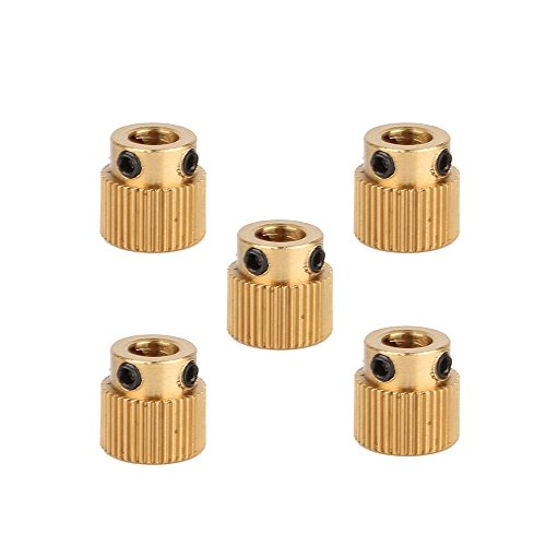 Printer Gear (Creality 3D Printer Parts 5PCS Brass Extruder wheel 40 Teeth Drive Gear for CR-10 CR-10S S4 S5)