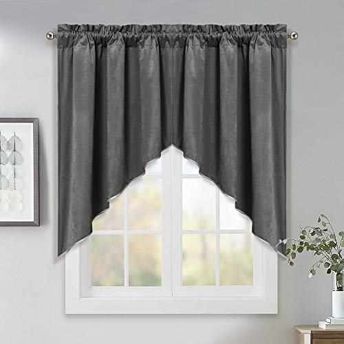 StangH Swag Curtains for Kitchen - Short Blackout Window Treatment Velvet Scalloped Tier Curtains/Valance Elegant Home Decor Drapes for Bedroom/Livingroom, Grey, W35 by L36 inches, 2 Panels (Bay Treatments Valances Window Window)