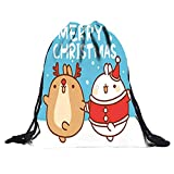 Christmas Cute 3D Digital Print Bouquet Drawstring Bags Pocket Backpack,Outsta Children Party Drawstring Bag Sports Storage Bag Gift Simple Hanging Sack (I)