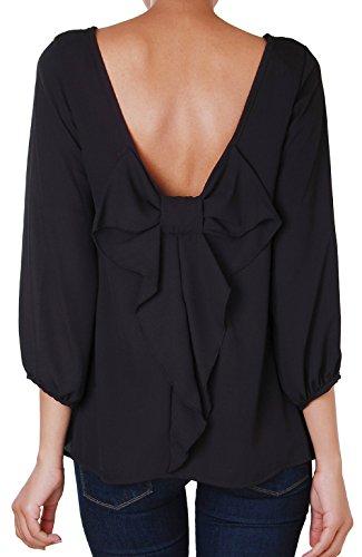 Humble Chic Bow Back Blouse - Long Sleeve Chiffon Top Backless Tunic Shirt, Black SMALL (Silk Tunic Blouse)