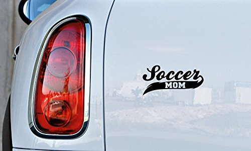 Soccer Mom Banner Car Vinyl Sticker Decal Bumper Sticker for Auto Cars Trucks Windshield Custom Walls Windows Ipad Macbook Laptop and More (BLACK)