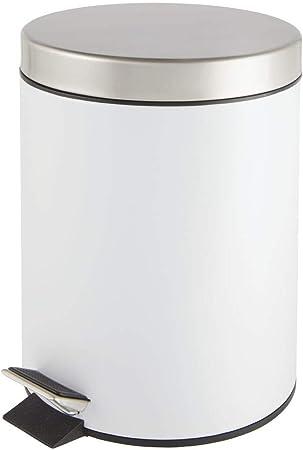 Perfetto come contenitore raccolta differenziata per il bagno mDesign Bidone spazzatura rotondo con volume di 5 L rosa Pattumiera a pedale in metallo e plastica la cucina o lufficio