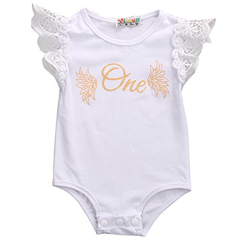 Baby Girls One Birthday Lace Ruffle Sleeve Rompers Cotton One-pieces Bodysuit (6-12M, (One Year Old Outfit Girl)