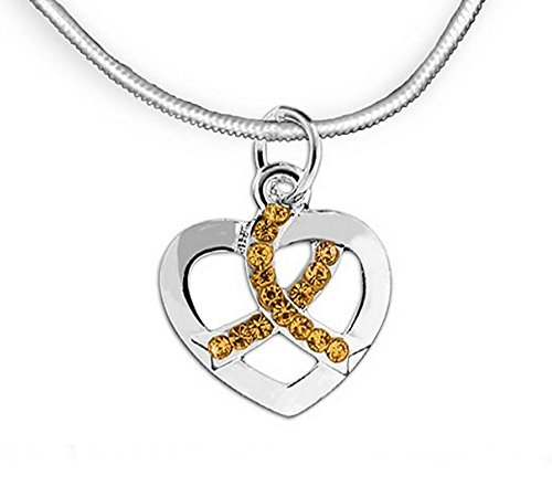 Childhood Cancer Awareness Crystal Gold Ribbon Charm Necklace