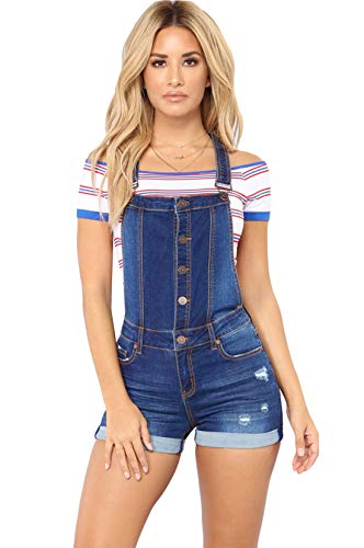 Itemnew Women's Adjustable Strap Button Front Shortalls Ripped Short Denim Jeans Overall (Medium, Blue)