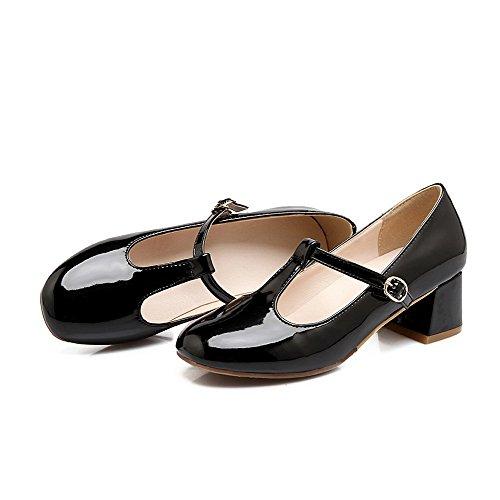 Allhqfashion Dames Pu Stevige Gesp Ronde Dichte Teen Kitten Hakken Pumps-schoenen Zwart