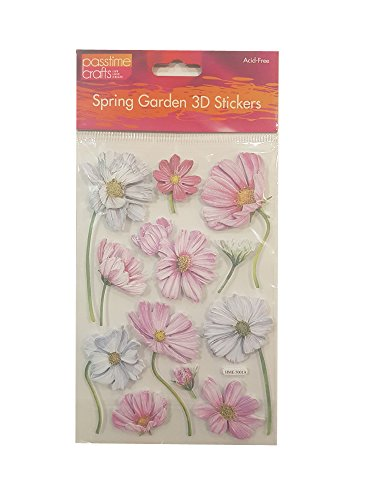 Passtime Crafts 3D Daisy Flower Embellishments with Glitter Accents - Pack of 2 Sheets 7843 (2 Pack Daisy)