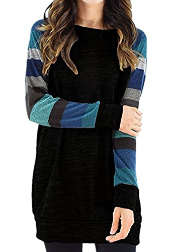 Elbow Sleeve Lightweight Cotton (Hellana Women's Casual Cotton Knitted Lightweight Color Block Long Sleeve Sweatshirt Tops Tunic Black Blue XL)