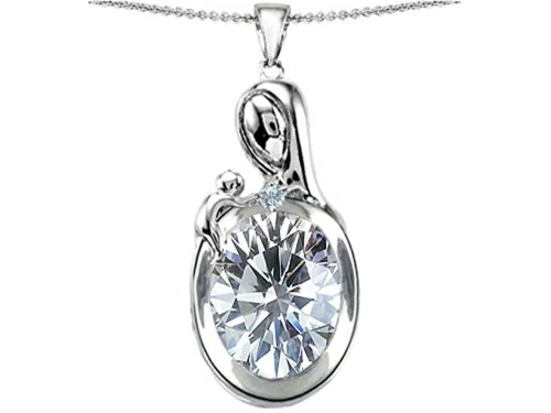 Star K Sterling Silver Loving Mother with Child Family Pendant with Oval 11x9mm Stone
