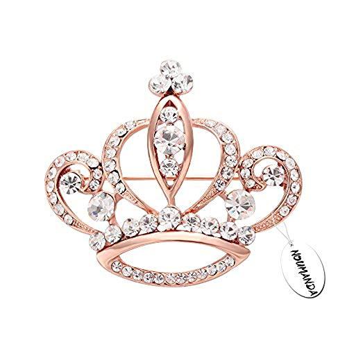 Gold Brooch Rose (NOUMANDA Women Shiny Rhinestone Crown Brooch Pin (Rose Gold))